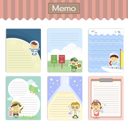 mooie memo's set met diverse carrière tekens Vector Illustratie