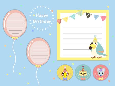 memos: lovely birthday party memos set with animals Illustration