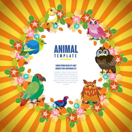 pajaro caricatura: pájaros magníficos plantilla con colorido fondo floral