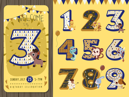 birthday invitation: lovely birthday party invitation with figures set Illustration
