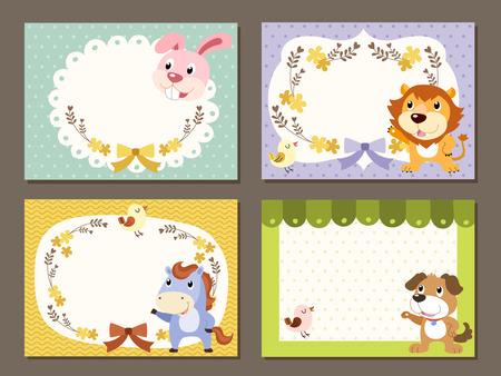 leon bebe: adorable diversos animales conjunto de la colecci�n papel de notas Vectores