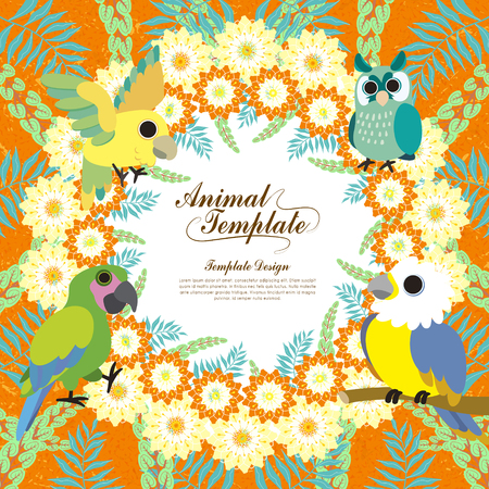 cartoon orange: gorgeous birds template with colorful floral background