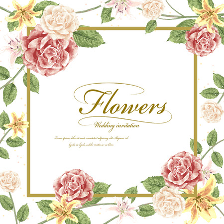 lily flower: romantic flowers wedding invitation template design with roses Illustration
