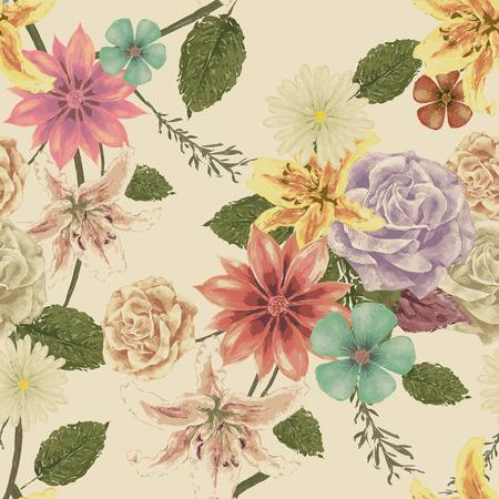 水彩風のヴィンテージ花柄シームレスな背景デザイン