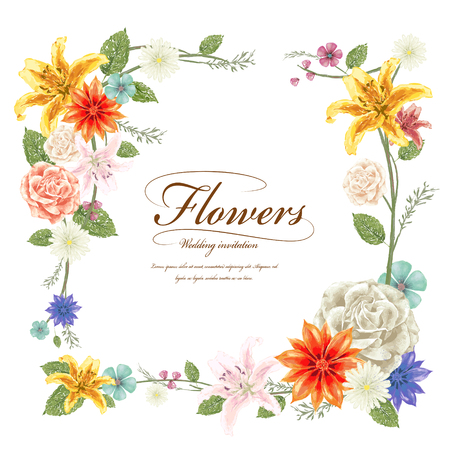 anniversary card: graceful floral frame design in watercolor style Illustration