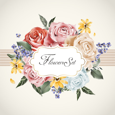 graceful floral card template with roses wreath decoration Illustration