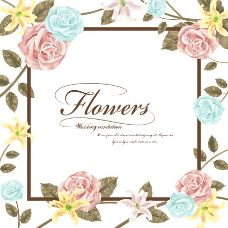 graceful: graceful floral wedding invitation with roses and lilies