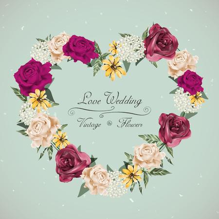 romantico: diseño de la invitación floral de la boda romántica con corona en forma de corazón