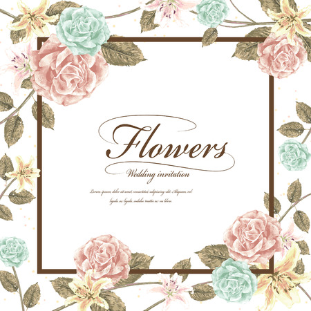 romantic flowers wedding invitation template design with roses Vettoriali