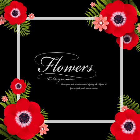 attractive: attractive red pansy floral frame with black background Illustration