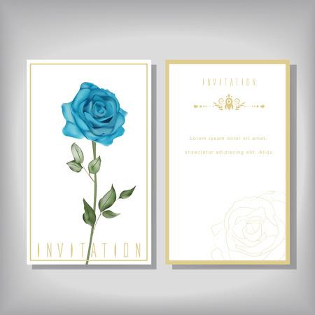 aniversario de boda: invitación elegante con azul especial de rosa aislados en fondo beige