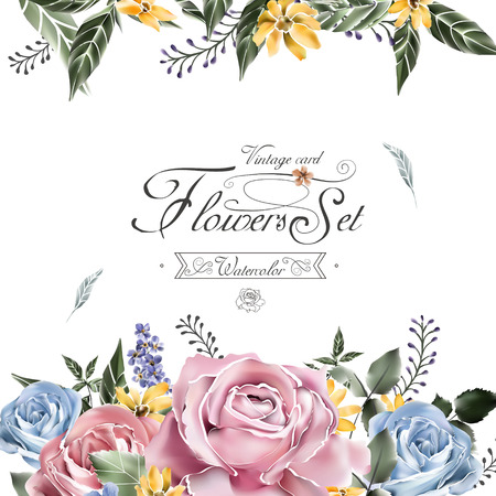 background frame: elegant flowers card template in watercolor style