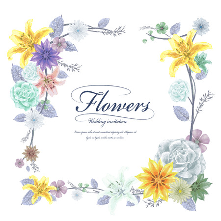 graceful: graceful floral frame design in watercolor style Illustration