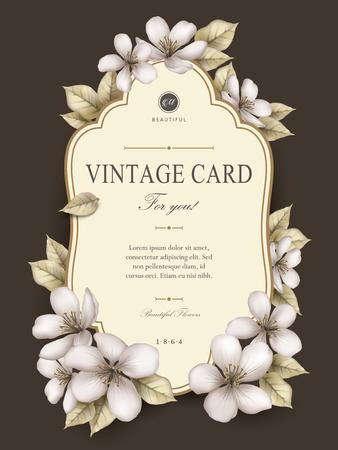 사과 꽃 장식과 우아한 빈티지 카드 디자인 일러스트