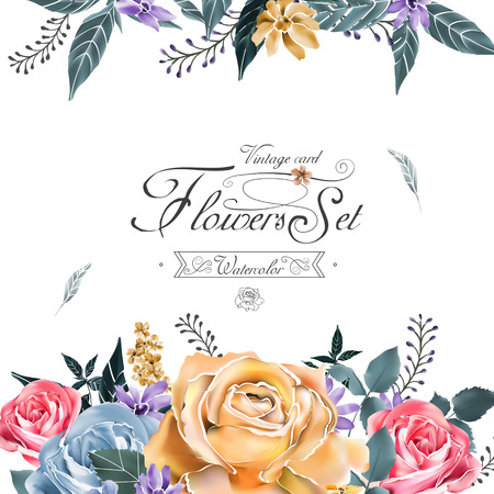 style template: elegant flowers card template in watercolor style