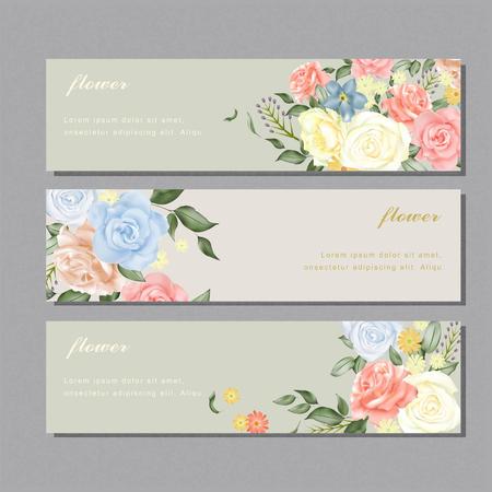 다양한 장미와 우아한 꽃 배너 디자인