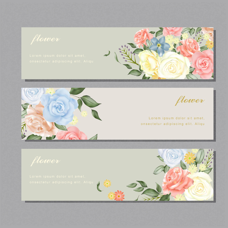 elegant flower banner design with diverse roses Illustration