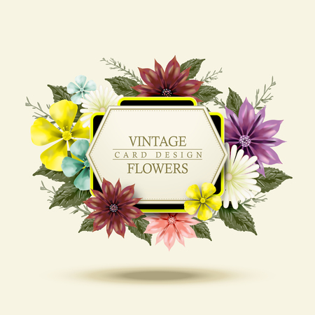yellow: attractive floral card with colorful summer garden flowers