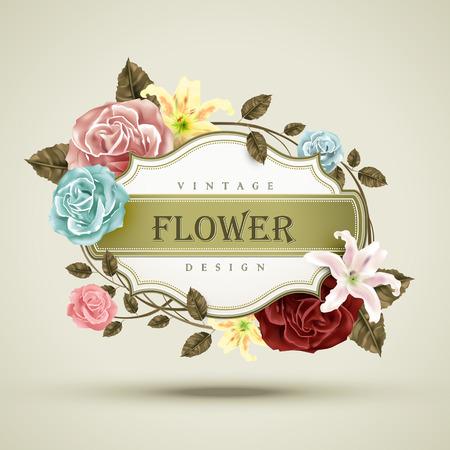 장미와 백합 프레임 빈티지 꽃 카드