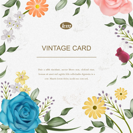 elegant greeting card template with floral elements