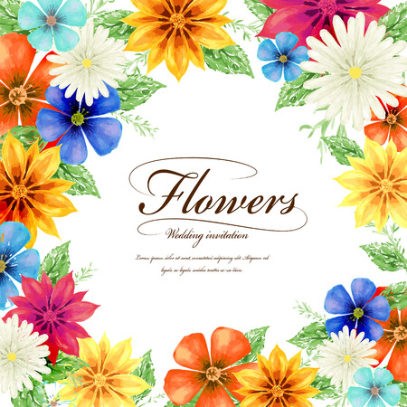 attractive tropical style floral wedding invitation template design Ilustracja