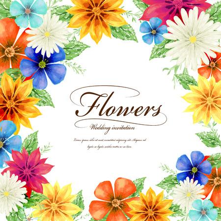 attractive tropical style floral wedding invitation template design Vettoriali