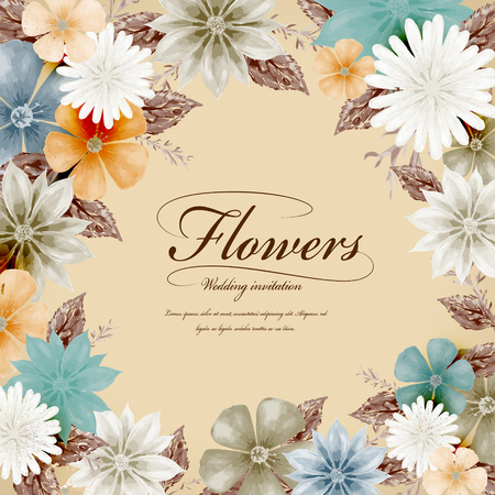 style template: attractive tropical style floral wedding invitation template design Illustration