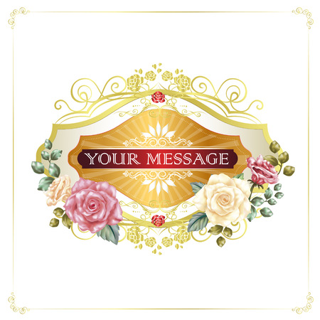 beige background: gorgeous floral cards with golden frames isolated on beige background Illustration