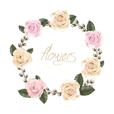 rosas naranjas: plantilla de tarjeta de la vendimia agraciada con elementos florales Vectores