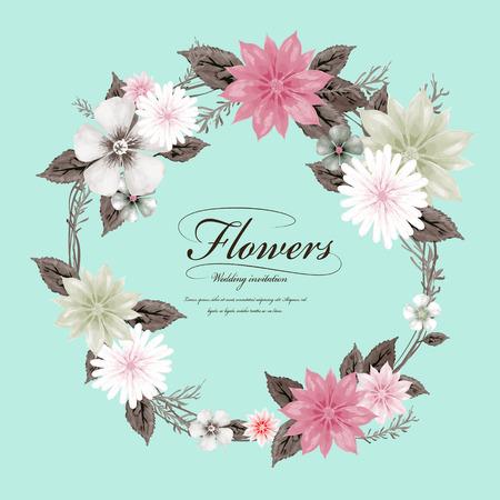 azul turqueza: elegante diseño de la guirnalda de flores en estilo de la acuarela Vectores