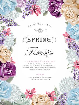 dibujos de flores: maravilloso diseño del cartel floral con diversas flores marco Vectores