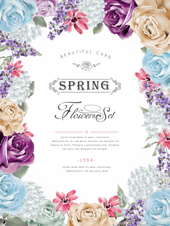 flowers: merveilleuse conception de l'affiche floral avec des fleurs diverses trame