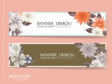 romantic floral banner template design set with colorful flowers