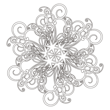 traditional tattoo: exquisite mandala pattern design in black and white Illustration