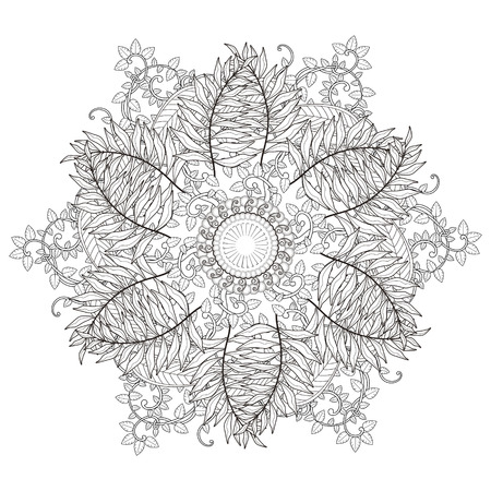 exquisite mandala pattern design in black and white 向量圖像