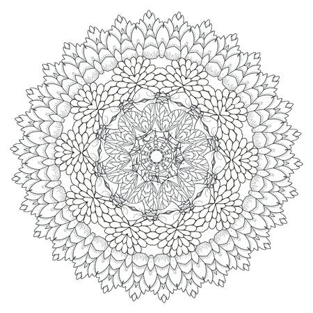 art flower: exquisite mandala pattern design in black and white Illustration
