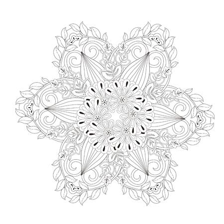 energy healing: exquisite mandala pattern design in black and white Illustration