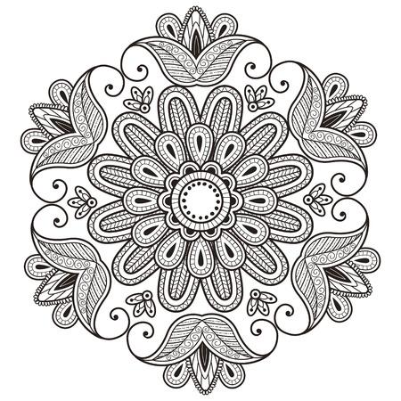 exquisite mandala pattern design in black and white Illustration
