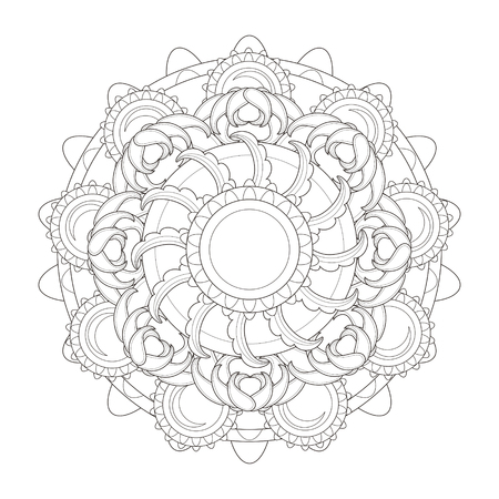 calm down: exquisite mandala pattern design in black and white Illustration