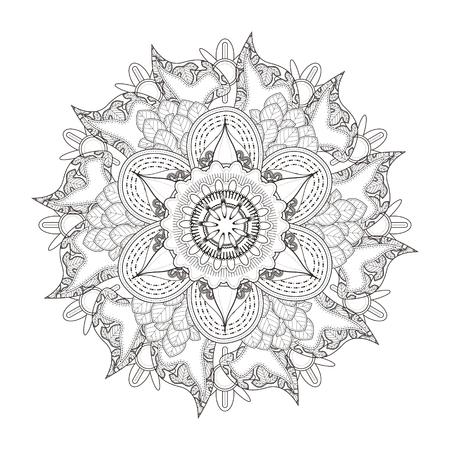 exquisite: exquisite mandala pattern design in black and white Illustration
