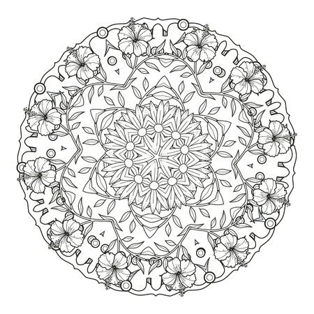 exquisite mandala pattern design in black and white 일러스트