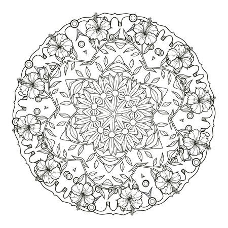 exquisite mandala pattern design in black and white Illustration