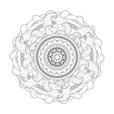 lithe: exquisite mandala pattern design in black and white Illustration