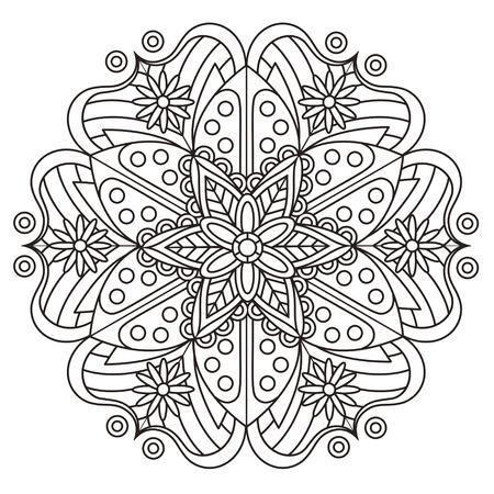 exquisite mandala pattern design in black and white Ilustrace