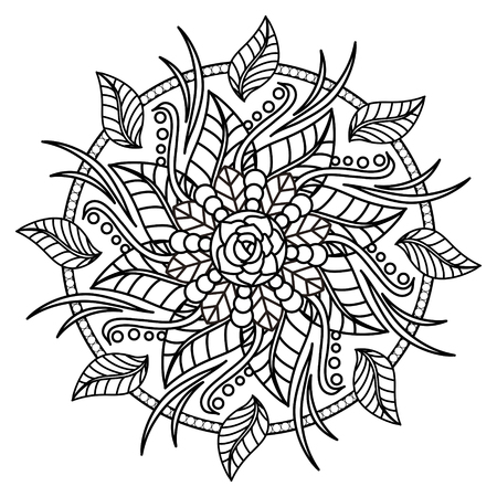 Exquise dessin de mandala en noir et blanc Banque d'images - 45295223