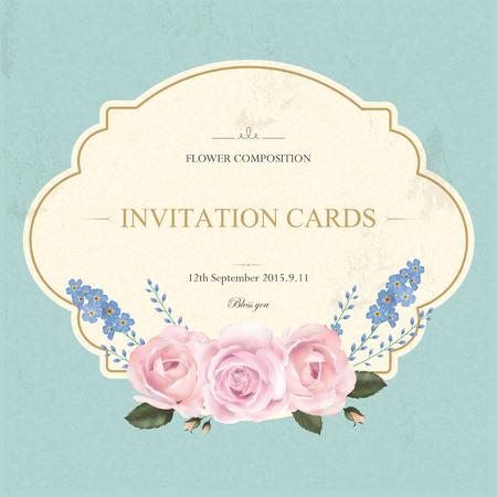 Plantilla de tarjeta de la vendimia agraciada con elementos florales Foto de archivo - 45352929