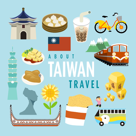 lovely Taiwan specialties and attractions in flat design