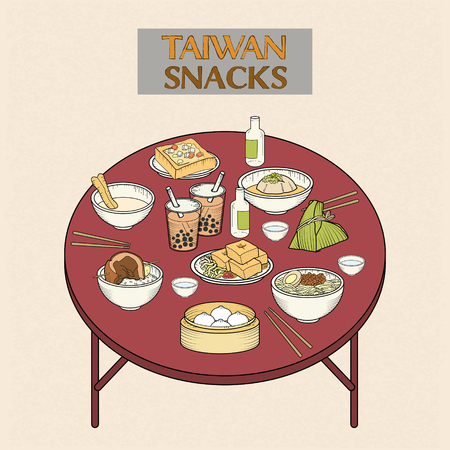 delicious Taiwan snacks collection in hand drawn style Vectores