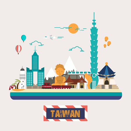 Taiwan attractions collection in flat design style