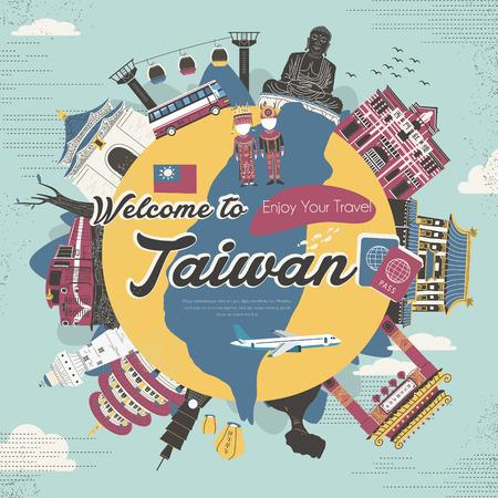 De aantrekkelijkhedeninzameling van Taiwan in vlakke ontwerpstijl Stock Illustratie